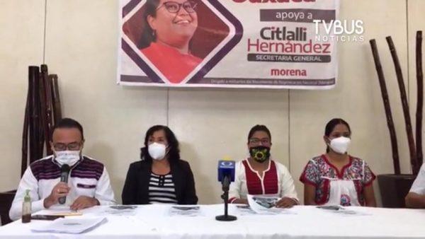 Grupo de militantes de MORENA manifiestan respaldo a Citlalli Hernández a la Secretaría General