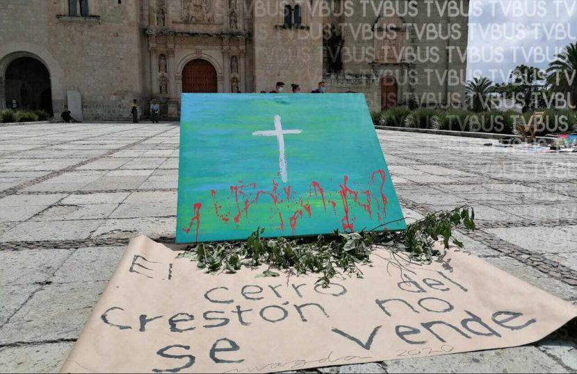 Protestan artistas y colectivos para evitar venta de espacios en el cerro crestón de Oaxaca