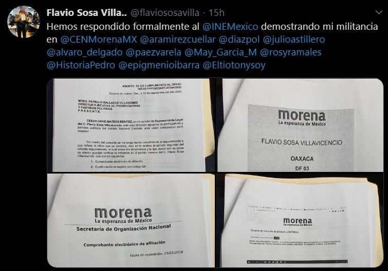 Responde Flavio Sosa a INE, si soy militante de MORENA, entrega documentos al instituto