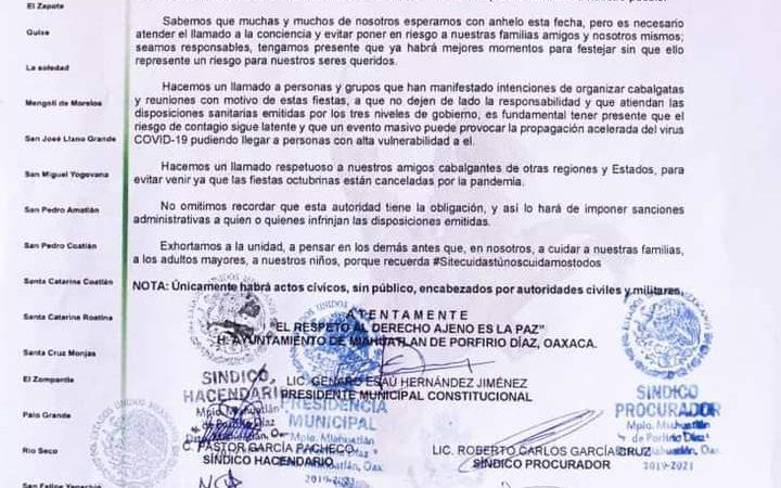 Ayuntamiento de Miahuatlán cancela fiestas de Octubre