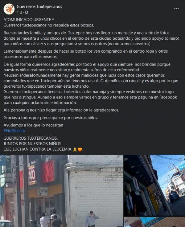 Denuncia Guerreros Tuxtepecanos a jóvenes que botean engañando a la gente