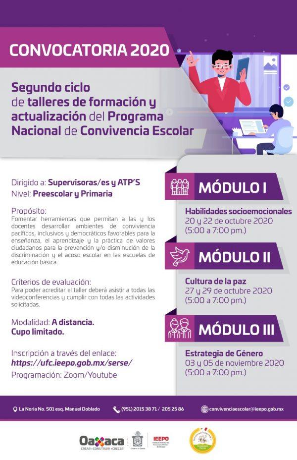 Abre IEEPO segunda convocatoria para ciclo  de talleres sobre Convivencia Escolar