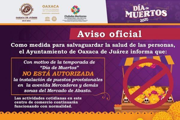 En temporada de Día de Muertos, no se autorizará instalación de puestos provisionales en el Mercado de Abasto