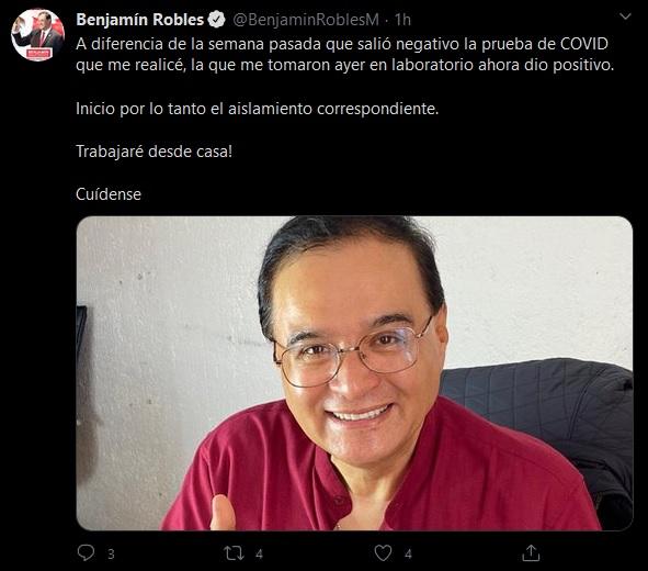 Diputado Benjamín Robles da positivo a Covid