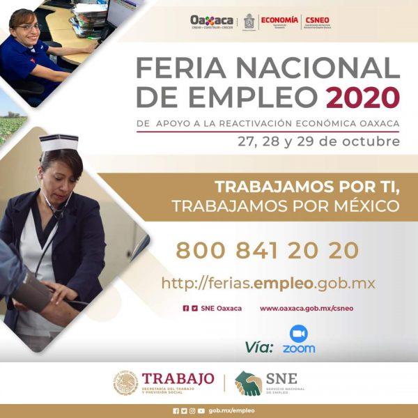 Realizan Feria Nacional de Empleo Virtual 2020 de apoyo a la Reactivación Económica en Oaxaca