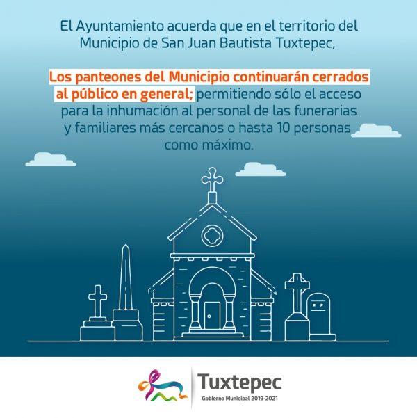 """No abrirán panteones en Tuxtepec durante celebración de """"Día de Muertos"""""""