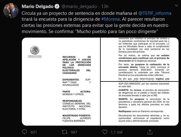 Tribunal Electoral cancelará encuesta para renovar dirigencia de MORENA: Mario Delgado