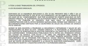 STPEIDCEO suspende proceso de renovación sindical