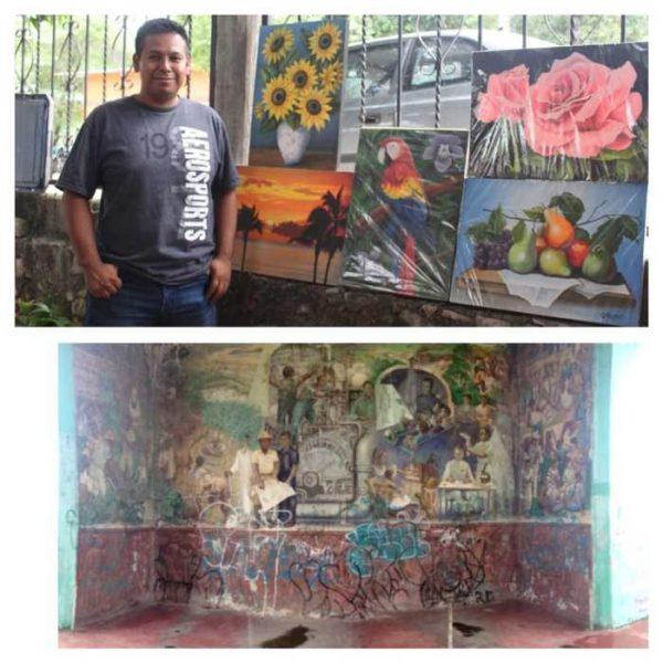 Pintor Soyaltepecano invita a restaurar mural del monumento Miguel Alemán
