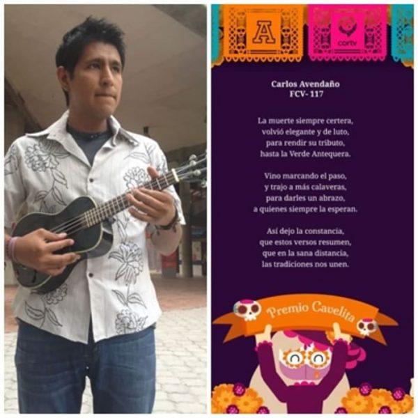 Chiltepecano Carlos Irán Avendaño ganador de Calaveritas por la Universidad Anáhuac y CORTV