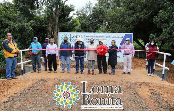 Inauguran puente para la comunidad de Nuevo Horizonte en Loma Bonita