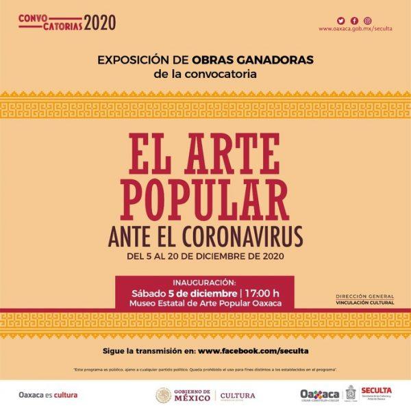 """Invita Seculta a la exposición de las y los ganadores de la convocatoria """"El arte popular ante el Coronavirus"""""""