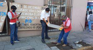 Personas con discapacidad denuncian mal estado de banquetas del centro de Oaxaca, nos arriesgamos a accidentes afirman