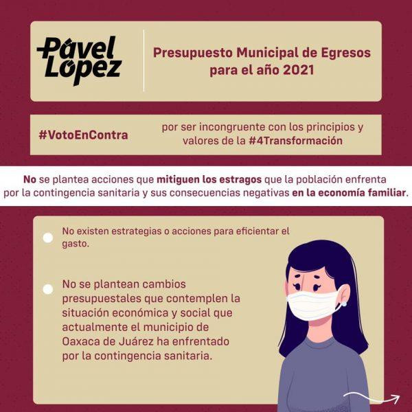 Presupuesto de Oaxaca de Juárez, incongruente con principios de la 4T: Regidor Pavel López
