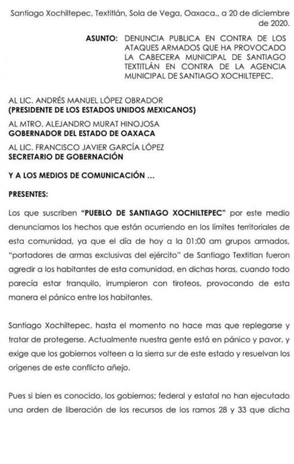 3 personas muertas, saldo preliminar de conflicto armado en Textitlán Sola de Vega