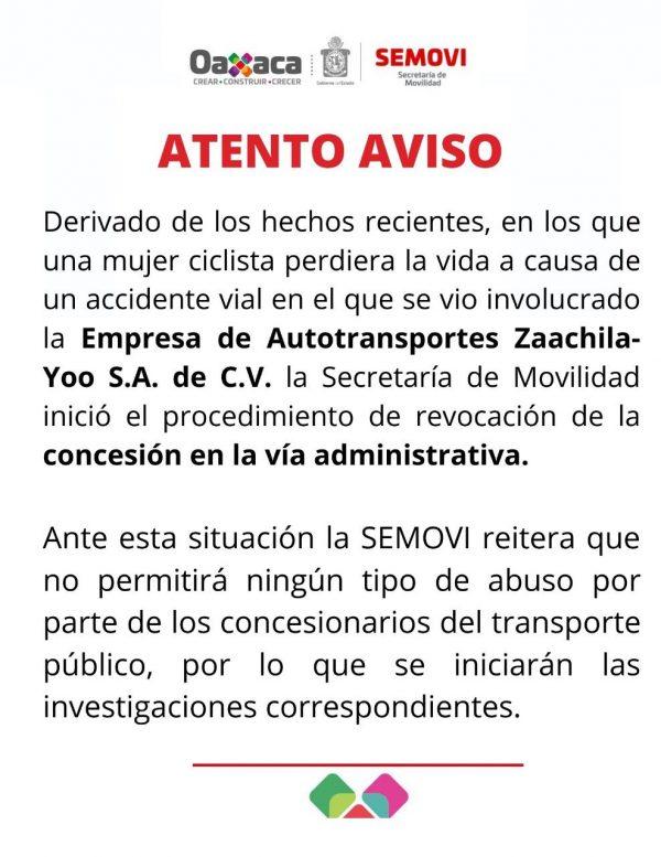 SEMOVI revoca concesión a empresa de transporte, por arrollar a ciclista