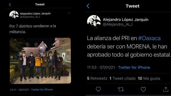 Vendieron a militancia del PRD para firmar coalición con el PRI: Alejandro López Jarquín