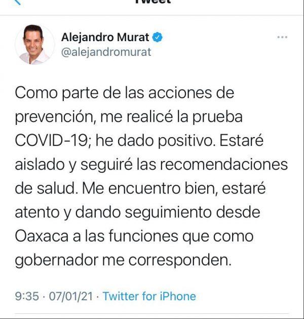 Gobernador de Oaxaca da positivo a Covid, se aislará como establece el protocolo