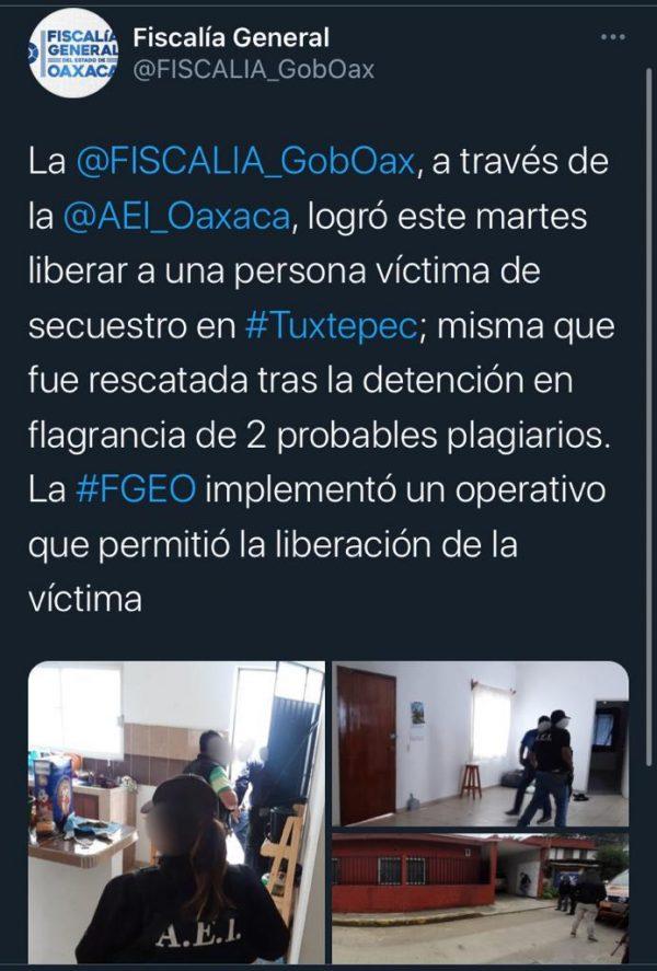 Fiscalía libera a contador secuestrado en Tuxtepec y detiene a dos probables plagiarios