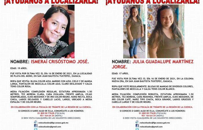 En menos de 24 horas, Fiscalía de Oaxaca, reporta 2 mujeres desaparecidas en la Cuenca del Papaloapan