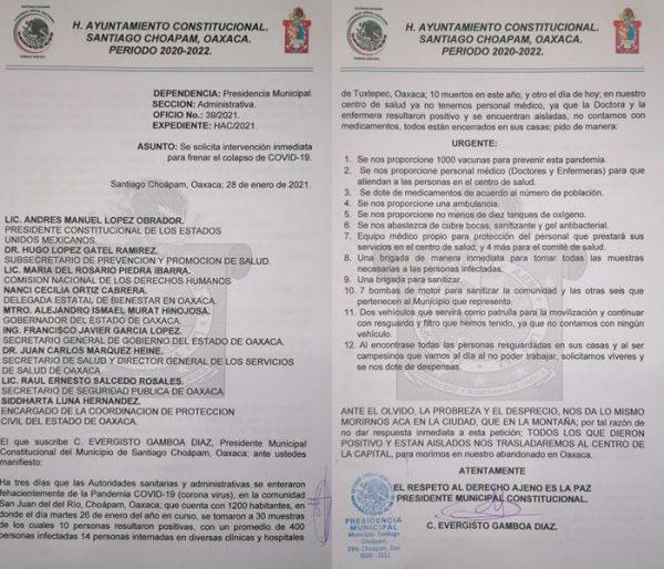 Por brote de Covid en Santiago Choapam, piden ayuda a gobierno federal