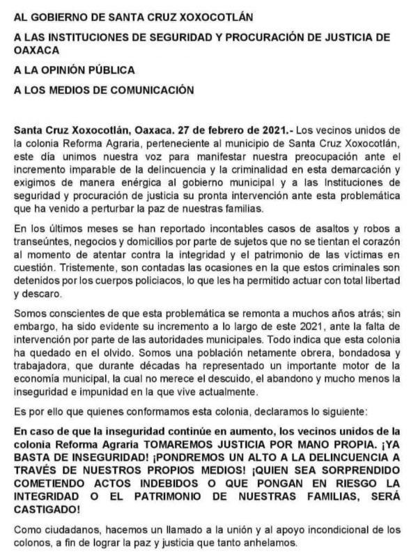 """Por delincuencia, habitantes de Xoxocotlán amenazan con hacer justicia """"por mano propia"""""""