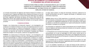 Convoca Congreso de Oaxaca, a renovar la Comisión de Selección del organismo estatal ciudadano en materia anticorrupción