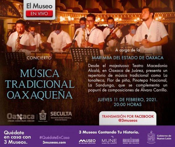 Marimba del Estado de Oaxaca brindará concierto virtual a público de Nuevo León