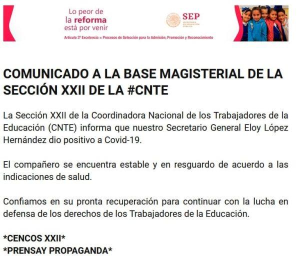 Líder de la Sección 22 en Oaxaca, da positivo a Covid