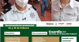 Reclutan vacantes para Guardia de Protección Federal en Tuxtepec