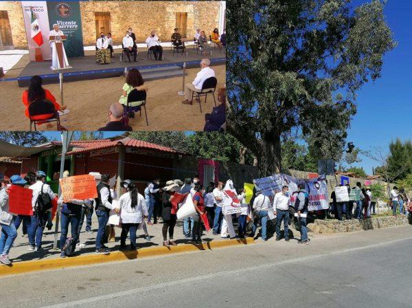 En Cuilápam de Guerrero, reciben a  AMLO con protestas