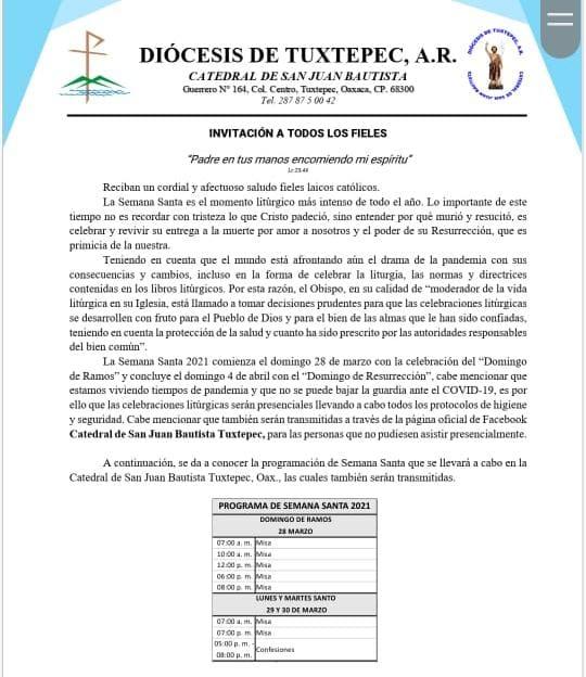 Con protocolos de higiene, Diócesis  de Tuxtepec celebrará la Semana Santa