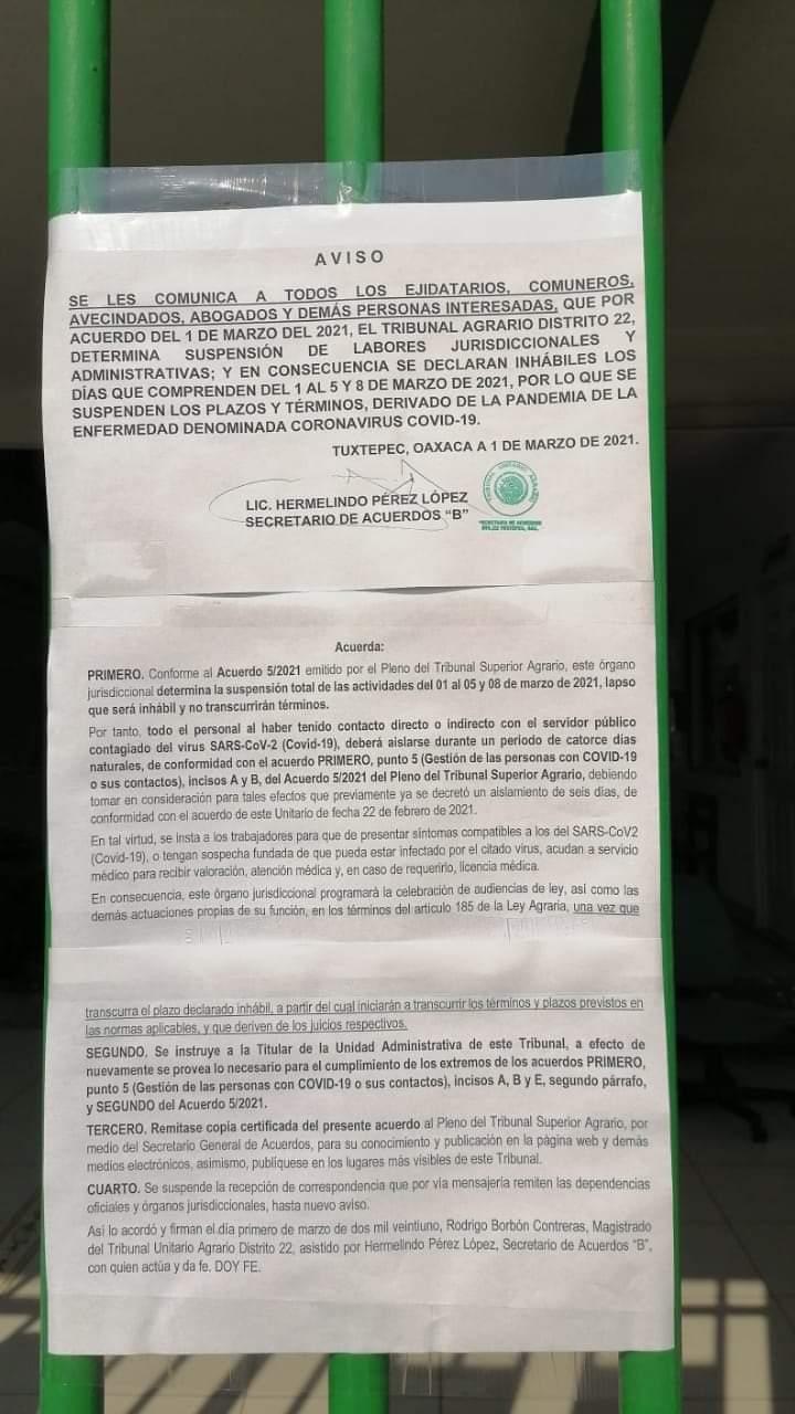 Por covid, cierran tribunal agrario en Tuxtepec