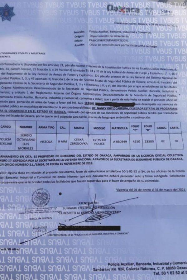 Nancy Ortíz si tenía escolta, lo asigno SSPO; filtran documento