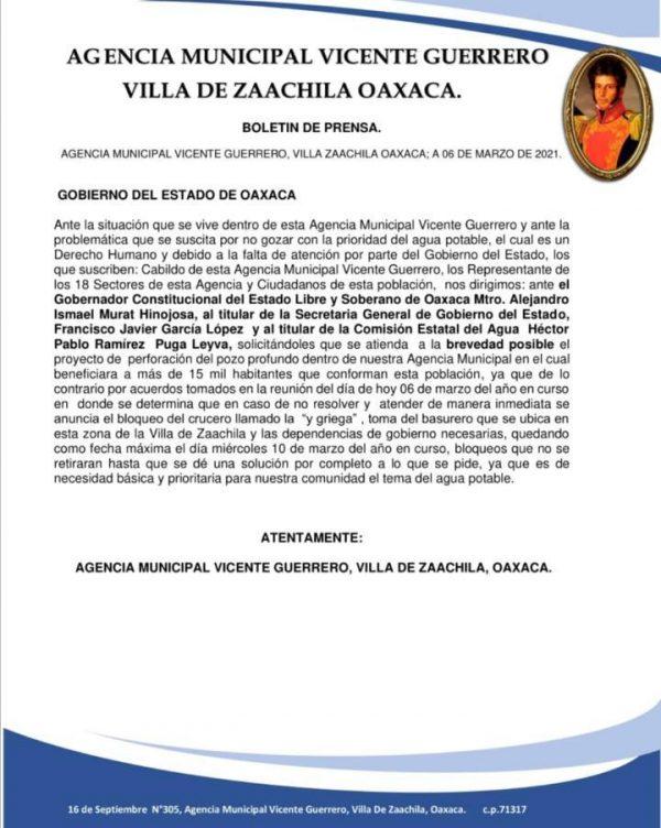 Habitantes de agencia Vicente Guerrero, Zaachila, amagan con movilizaciones