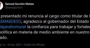 Renuncia Samuel Gurrión a la SEMAEDESO en Oaxaca