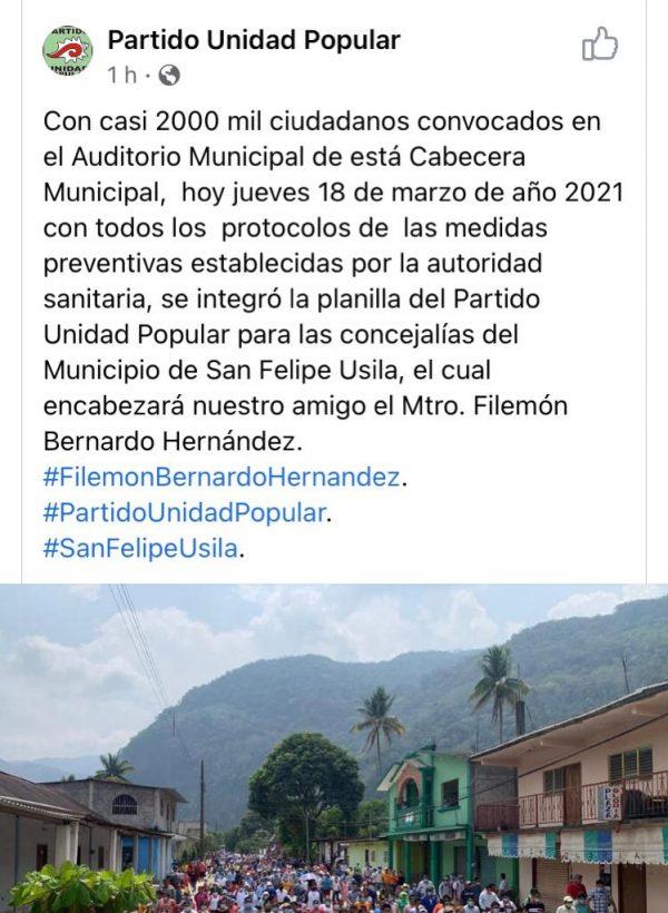 Con pandemia, el presidente de Usila convocó a casi 2 mil personas para su campaña de reelección
