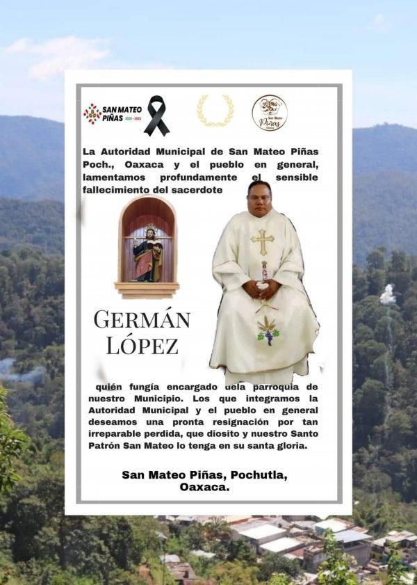 Cierran accesos a la población de San Mateo de  las Piñas por muerte de Sacerdote