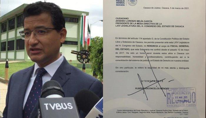 Renuncia Rubén Vasconcelos Méndez a la Fiscalía de Oaxaca