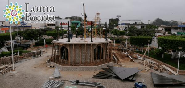 Avanza la construcción del Kiosco en el parque central de Loma Bonita