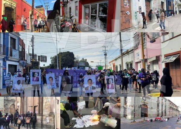 Durante marcha, feministas causan destrozos en bancos e iglesia de Oaxaca