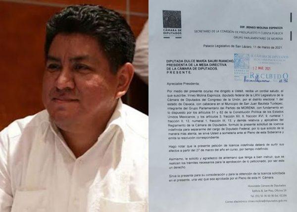 Irineo Molina pide licencia indefinida, para participar en el proceso electoral