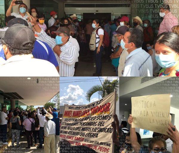 Aglomeración, protestas y peticiones en visita de AMLO a Tuxtepec