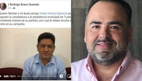 Dirigente de Coparmex en Tuxtepec, felicita a Irineo Molina por su designación