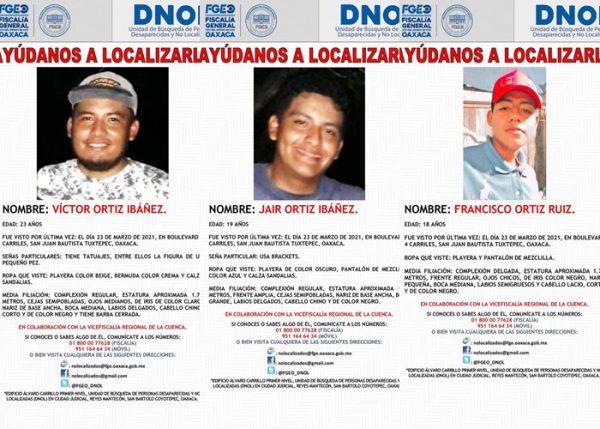 Reporta Fiscalía de Oaxaca, desaparición múltiple de tres jóvenes Tuxtepecanos