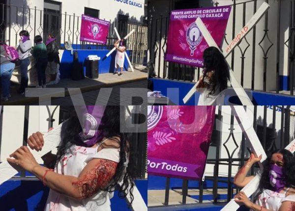 En Oaxaca mujeres protestan en Fiscalía Especializada para atención de delitos contra la mujer