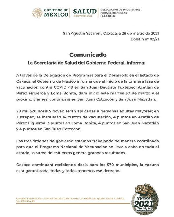 Este martes inicia vacunación de adultos mayores en Tuxtepec