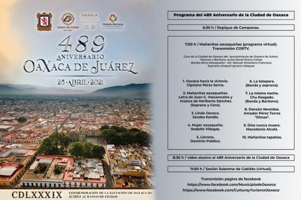 De manera virtual, celebrará Oaxaca de Juárez 489 aniversario de la elevación al rango de Ciudad