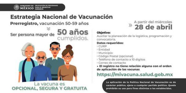 28 de abril arranca pre-registro de personas de 50 a 59 años para vacunarse contra el Covid