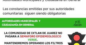 Ixtlán de Juárez, no cambiará de color de semáforo epidemiológico; seguirán con medidas